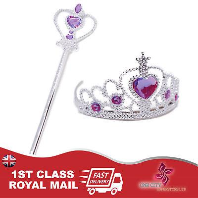 Frozen Princess Queen Anna Elsa Tiara Crown & Purple Wand Dressing up Girl Set