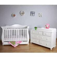 Baby direct deluxe 3 in 1 sleigh cot + Urbane 7 chest drawer whit Richmond Yarra Area Preview