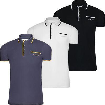 Mens Crosshatch Polo T Shirt 2018 Design Top Contrast Collar Short Sleeve (Contrast Collar Cotton T-shirt)