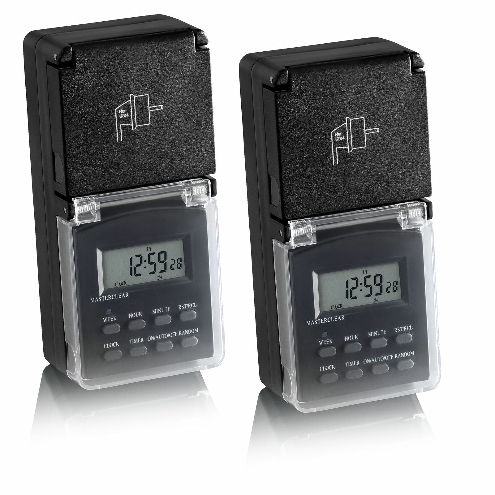 2x Zeitschaltuhr digital programmierbar Außen IP44, Wochentimer 24h Timer SEBSON