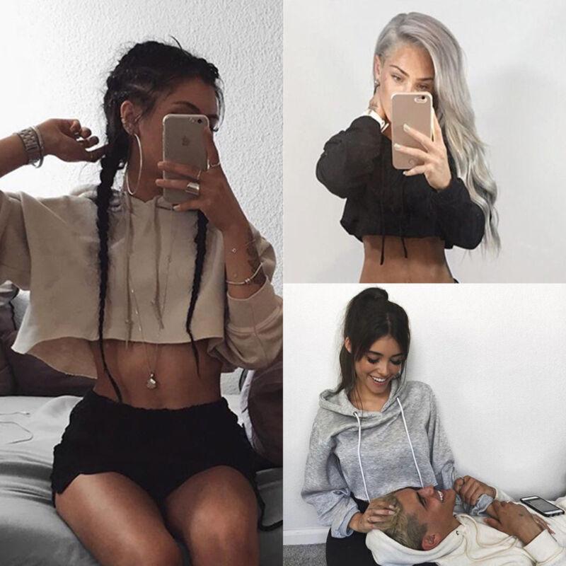 Women's Hoodie Sweatshirt Jumper Sweater Crop Top Casual Spo