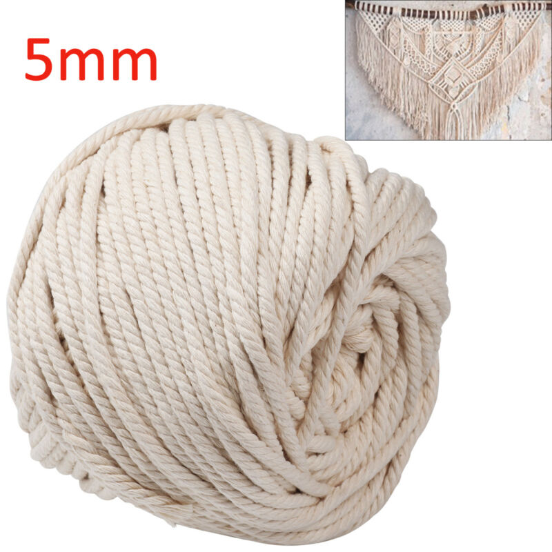 5mm x 65m Macrame Rope Cotton Twisted Cord DIY Craft Knitting Cord Rope Natural Beige