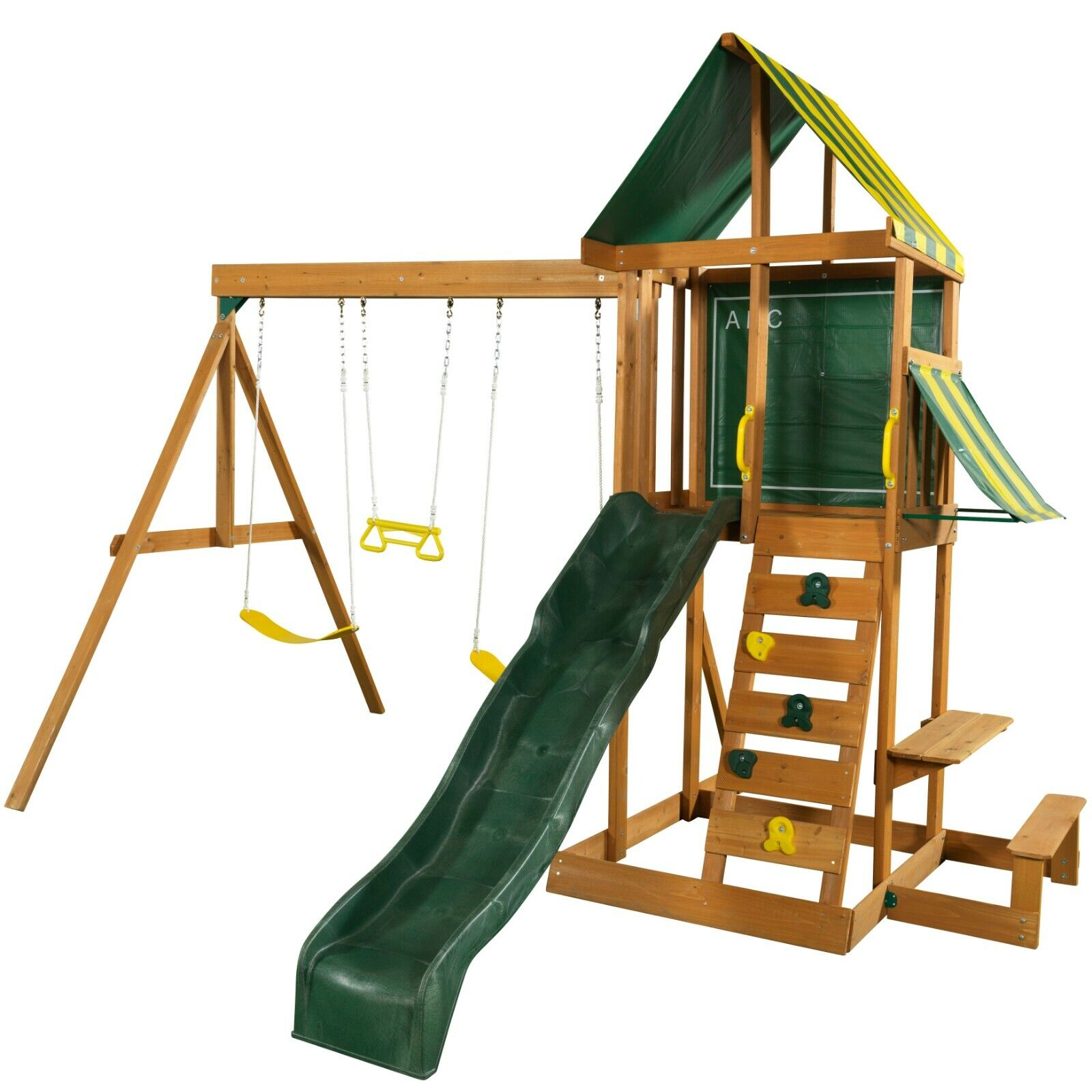 Spring Meadow Wooden Outdoor Playset with Slide and Swings b