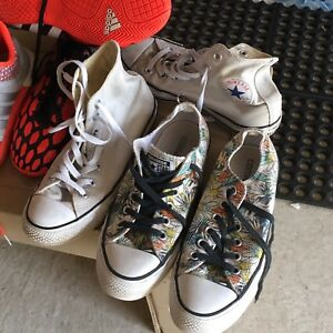 Converse white high tops and flower design