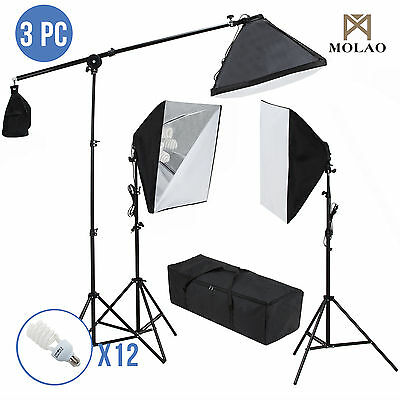 Photo Studio Photography 3 Softbox Flame Stand Continuous Lighting Kit 2400W