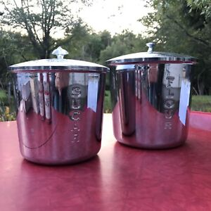 Large Chrome Mid Century Vintage Sugar & Flour Canisters