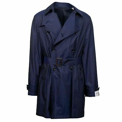 NWT Caruso Navy Blue Silk Double Breasted Trench Coat Size 56/46 R $2095 Double Breasted Silk Coat