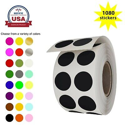 Round Dot Color Coding 12 Inch Stickers 13mm Circle Labels For Crafts 1080 Pack