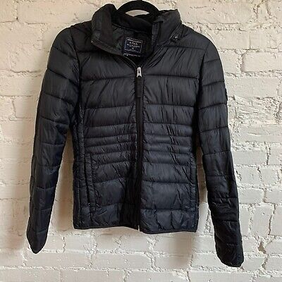 Abercrombie And & Fitch A&F Black Puffer Down Full Zip Jacket Coat Hooded