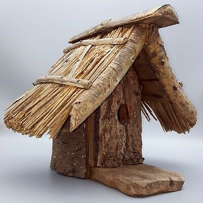 Rare VTG Thatched Roof Birdhouse by Robert Baker Partnership, Plymouth, England