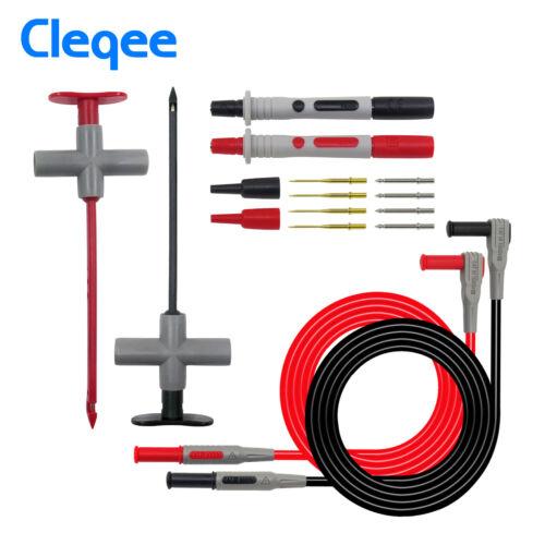 Multimeter Test Lead Kit Wire Piercing Probe Clip 4mm Banana Plug For Fluke
