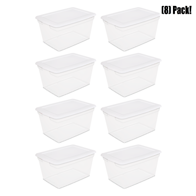 8 PACK Storage Containers Plastic 58 Qt  Box Clear White Bin