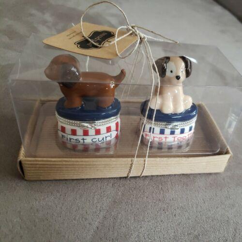 New Mud Pie First Tooth Curl Ceramic Keepsake Box Set Dogs Boy Girl Birthday - $11.99