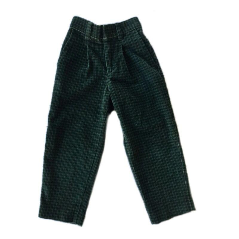 Michael James Boys Toddler 2t Green Corduroy Plaid Tapered Dress Pants Scottish