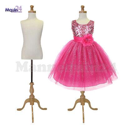 2 Pack - Kids Dress Body Form Mannequin For 7-8 Yr Wooden Base Child Display