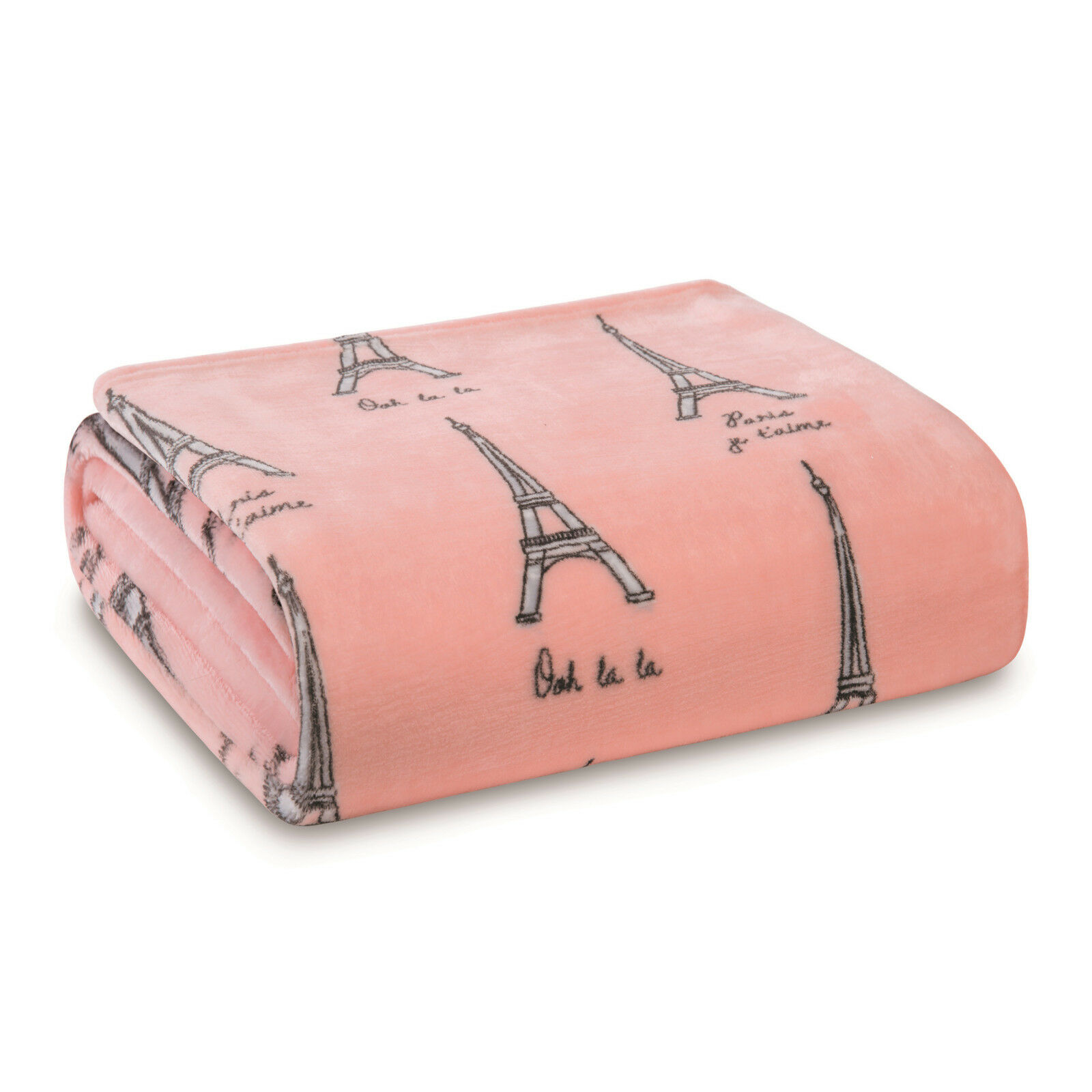 Paris Blanket Throw Velvet Plush Cozy Eiffel Tower, Pink and