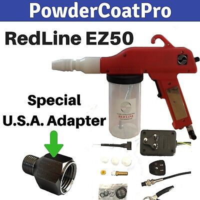 Redline Ez50 Powder Coating Gun With Special Usa Airline Thread Power Adapters