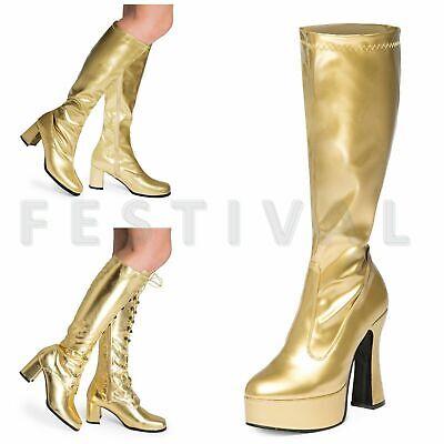 Damen Herren Gold Kniehoch Ösen Plateau Disco Kostüm - Gold Kostüm Stiefel