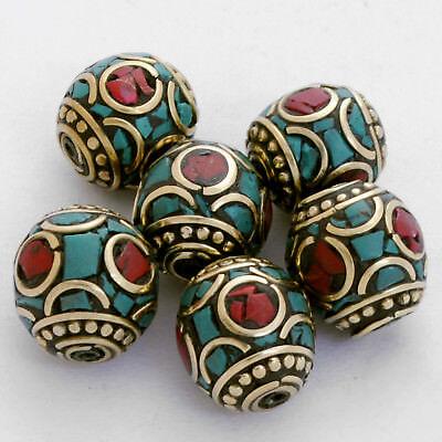 Turquoise Coral Brass 6 Beads Nepalese Tibetan Handmade Tibet Nepal UB2464A
