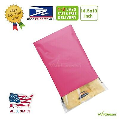 1-150 14.5x19 Pink Poly Mailers Clothing Envelopes Plastic Shipping Bags 2.5 Mil