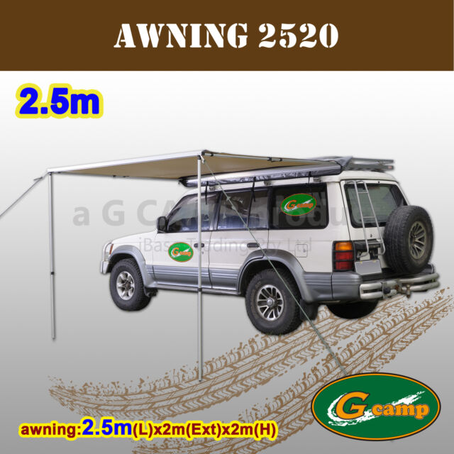 G CAMP 2.5M AWNING ROOF TOP TENT CAMPER TRAILER 4WD 4X4 CAMPING CAR RACK FREE