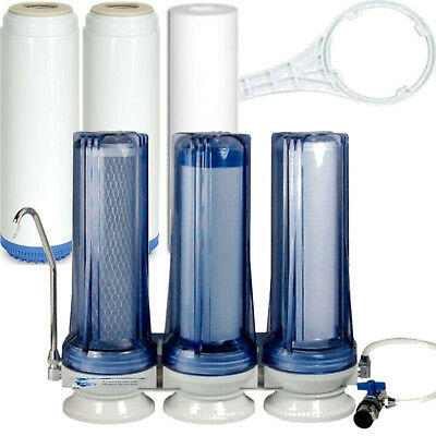 3 STAGE COUNTERTOP WATER FILTER FLUORIDE/ARSENIC/CHLORAMINE SYSTEM CLEAR
