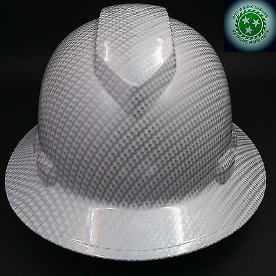 Full Brim Hard Hat Custom Hydro Dipped New White Carbon Fiber Hot New Hydro