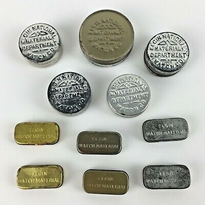 ELGIN Lot 11 Metal Tins Pocket Watch Movement Parts Material Tin Vtg Advertising