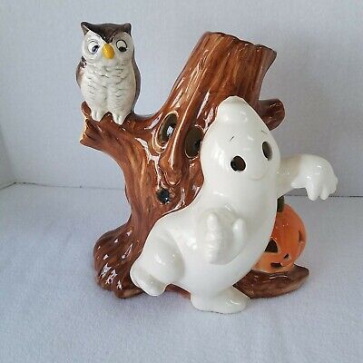 Halloween Hand painted Ceramic Friendly Ghost Owl Pumpkin with Spooky Tree