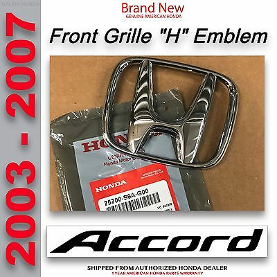 Genuine OEM Honda Accord 4Dr Sedan Front Grille H Emblem 2003-2007 75700-S9A-G00 ()