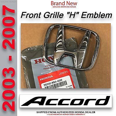 Genuine OEM Honda Accord 4Dr Sedan Front Grille H Emblem 2003-2007 75700-S9A-G00