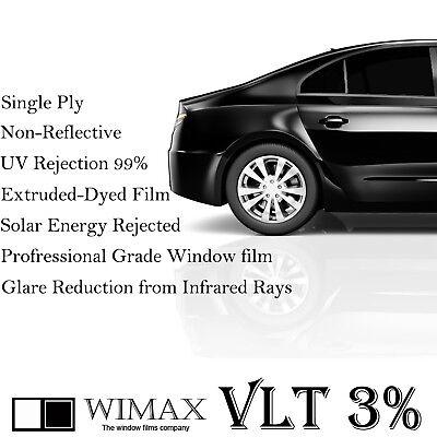 """Wimax Limo Dark Black 3% VLT 36"""" In x 25' Ft Feet Uncut Roll Window Tint Film"""
