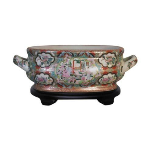 Unique Chinese Rose Medallion Porcelain Foot Bath Basin