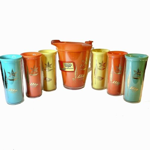 Vintage Burrite Sta-Cold Insulated Pitcher & 6 Tumblers Set Mid Century Mod