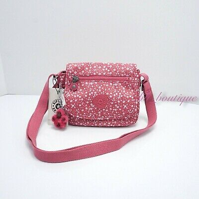 NWT Kipling AC8282 Sabian Crossbody Mini Shoulder Nylon Bag Dainty Daisies Pink