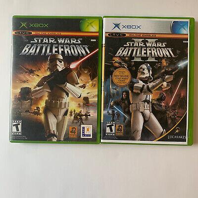 Original Microsoft Xbox Video Game Lot Star Wars Battlefront I and II 1 & 2