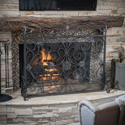 Darcie Black Brushed Silver Finish Wrought Iron Fireplace Screen Fireplace Screens & Doors