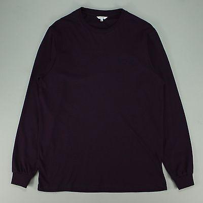 Polar Micro Stripe Long Sleeve Tee - Burgundy Navy T-Shirt New  - Size: S