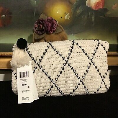 Bag New White Cotton Knit (NWT Eileen Fisher Knit Peruvian Organic Cotton Tassel Pouch Bag black and)