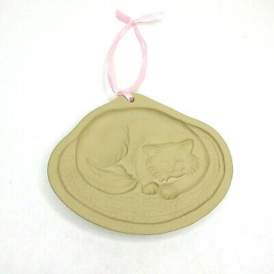 Brown Bag Cookie Art Cat Cheshire Curled Up Clay Mold Hill Design 1988 Ribbon