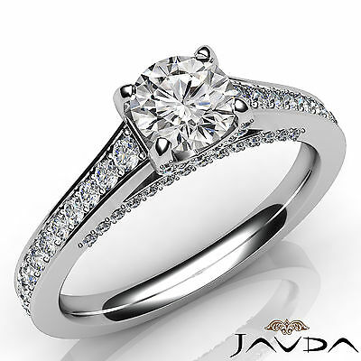 Cathedral Micro Pave Round Diamond Engagement White Gold Ring GIA F VS2 1.46 Ct