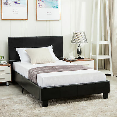 Twin Size Faux Leather Platform Bed Frame & Slats Upholstered Headboard Bedroom