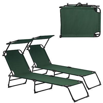casa.pro 2x Sun Lounger 190cm dark green with Sun Roof Garden Lounger Beach