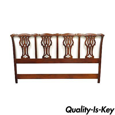 Vintage Chippendale Style Carved Solid Mahogany King Size Bed Headboard Drexel