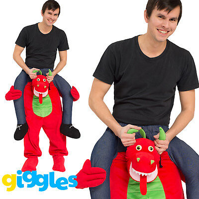 Red Dragon Piggy Back Ride On Me Mascot Mens Fancy Dress Costume Carry Stag Do