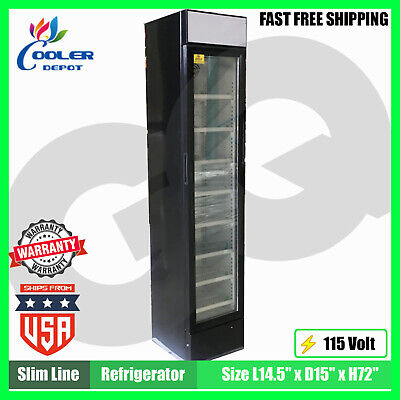 Refrigerator 1 Glass Door Slim Line Cooler Nsf Etl Commercial Reach-in Fridge