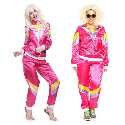 80s Adult Womens Ladies Scouser Tracksuit Shell Suit Fancy Dress Costume M-XXL