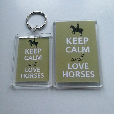 Horse Rectangle Magnet - KEEP CALM AND LOVE HORSES Keyring or Fridge Magnet GIFT PRESENT IDEA