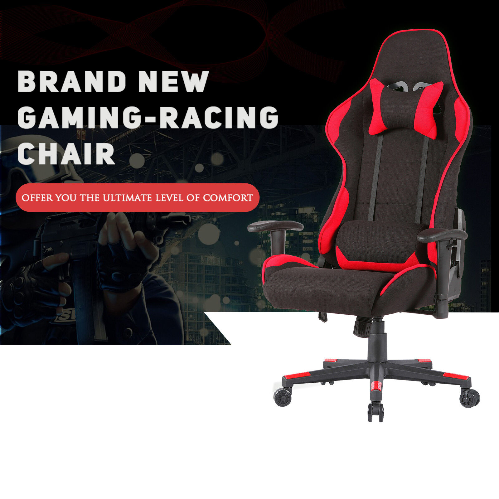 Office Gaming Chair Racing Seats Computer Chair Executive Rocker Black U0026 Red