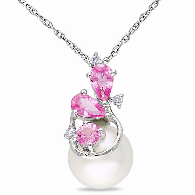 Amour 10k White Gold Cultured FW Pearl, Diamond, Pink Sapphire Cluster Pendant Fw White Pearl Pendant